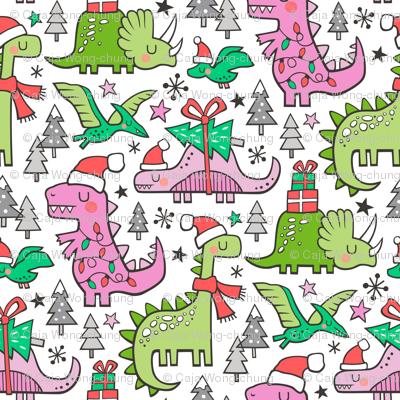 Christmas Holidays Dinosaurs & Trees Pink on White