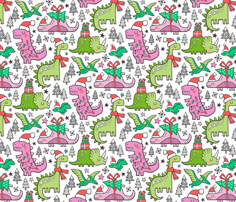 Christmas Holidays Dinosaurs & Trees Pink on White fabric by caja_design on Spoonflower - custom fabric