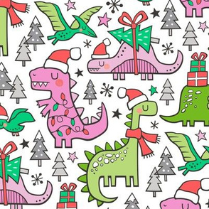 Christmas Holidays Dinosaurs & Trees Pink on White