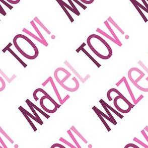 Mazel Tov! on Diagonal Pink on White
