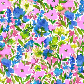 Wild Garden Pink and Blue on White