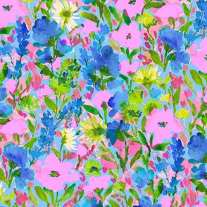 Wild Garden Pink and blue on blue