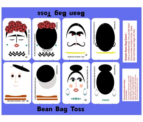 Famous Artists Info Bean Bag Toss - cut-n-sew copy (1) fabric by kae50 on Spoonflower - custom fabric