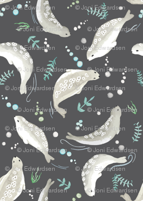 Tundraberry Playful Seal Print Charcoal