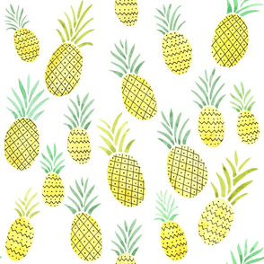 Watercolor Pineapple Pattern - Large Scale
