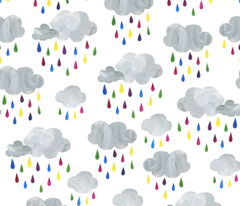Rainbow Rain Clouds - Large Scale fabric by latheandquill on Spoonflower - custom fabric
