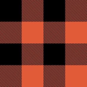 "2"" Buffalo Plaid with Twill Pattern | Orange and Black K070"