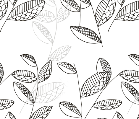 leaf drawing tile fabric by resistanthearts on Spoonflower - custom fabric