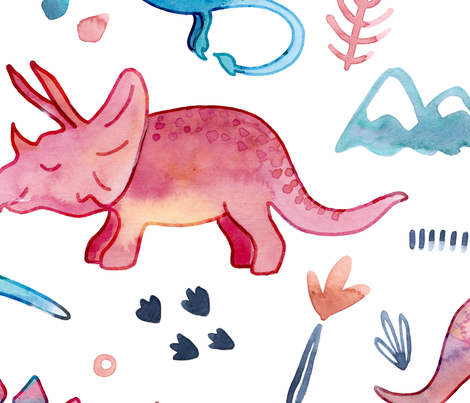 Roarsome Dino's - Large fabric by gingerlique on Spoonflower - custom fabric