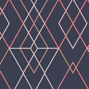 Geometric Grid -  Dark  Blue Pink