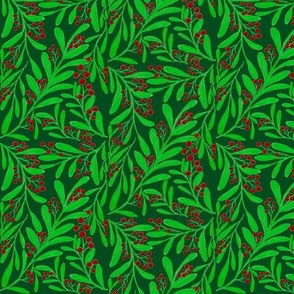 A Scatter of Festive Berry Sprigs on Dark Forest Green - Medium Scale