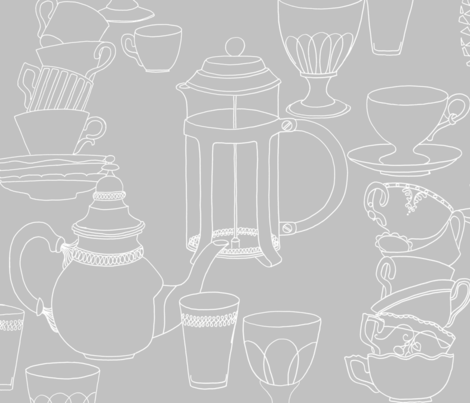 Crockery (white on grey)  fabric by kate_rowley on Spoonflower - custom fabric