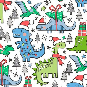 Christmas Holidays Dinosaurs & Trees Pink Dark Blue & Green on White