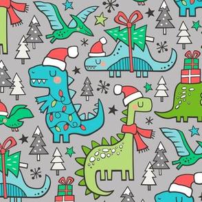 Christmas Holidays Dinosaurs & Trees Blue on Light Grey