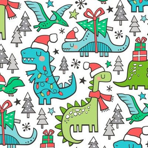 Christmas Holidays Dinosaurs & Trees Blue on White