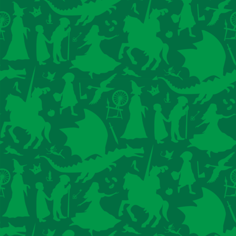 Fairy Tales-Green fabric by bluebirdworkshop on Spoonflower - custom fabric
