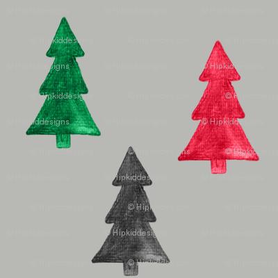 "4"" Christmas Trees Watercolor // Gray Nickel"