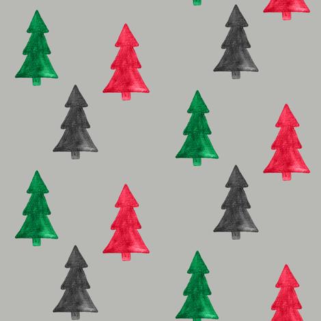 "4"" Christmas Trees Watercolor // Gray Nickel fabric by hipkiddesigns on Spoonflower - custom fabric"