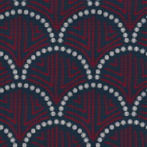 Scallop wave with texture- Navy red
