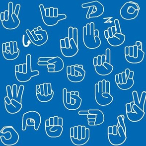 Tossed Sign Language ASL Alphabet Blue