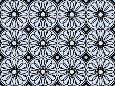 Spinning Daisy: Chambray Blue & Black Geometric Flowers