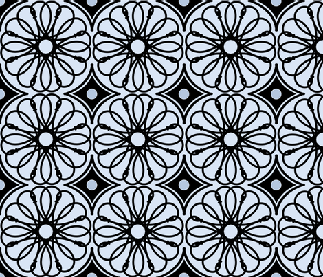 Spinning Daisy: Chambray Blue & Black Geometric Flowers fabric by dept_6 on Spoonflower - custom fabric