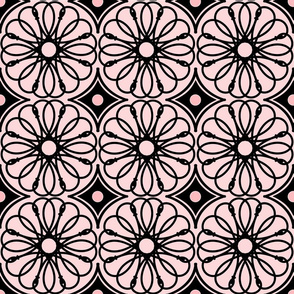 Spinning Daisy: Millennial Pink & Black Geometric Flowers
