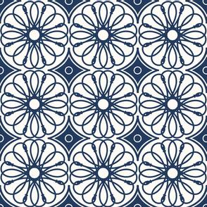 Spinning Daisy: Navy & Cream Geometric Flowers