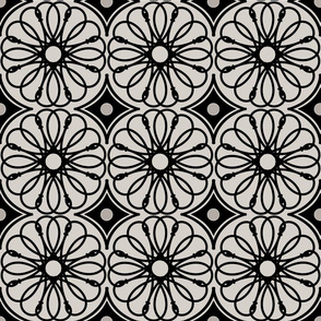Spinning Daisy: Warm Gray & Black Geometric Flowers