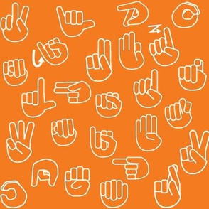 Tossed Sign Language ASL Alphabet Orange