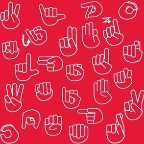 Tossed Sign Language ASL Alphabet Red