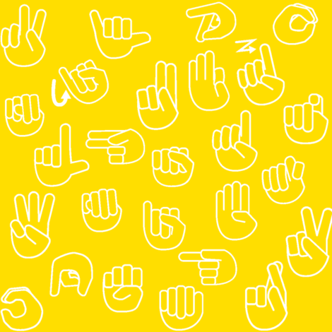 Tossed Sign Language ASL Alphabet Yellow fabric by sunshineandspoons on Spoonflower - custom fabric