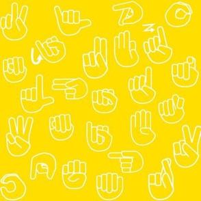Tossed Sign Language ASL Alphabet Yellow