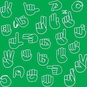 Tossed Sign Language ASL Alphabet Green