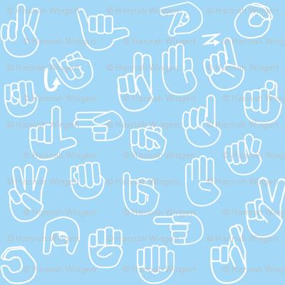 Tossed Sign Language ASL Alphabet Light Blue