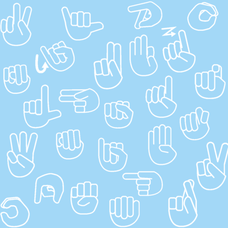 Tossed Sign Language ASL Alphabet Light Blue fabric by sunshineandspoons on Spoonflower - custom fabric