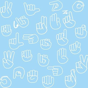 Tossed Sign Language ASL Alphabet Light Blue
