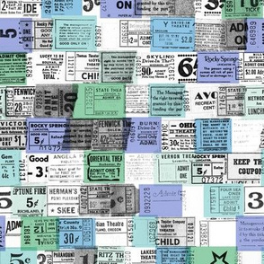 Ticket Stubs* (Blues) || tickets ephemera numbers text typography graphic design vintage pastel