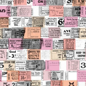 Ticket Stubs* (Pinks) || tickets ephemera numbers text typography graphic design vintage pastel