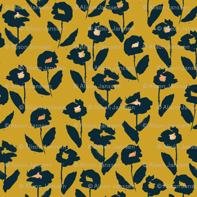 darling floral - gold & navy