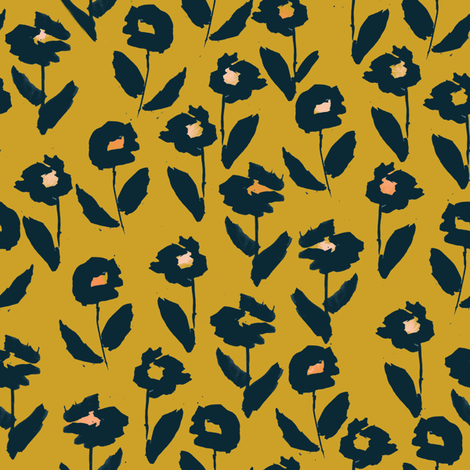 darling floral - gold & navy fabric by alison_janssen on Spoonflower - custom fabric