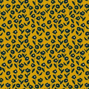 darling floral - gold & navy