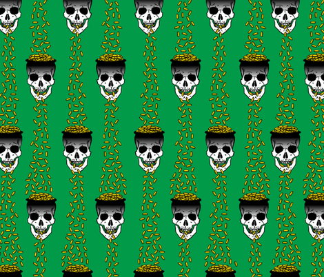 gold skulls green  fabric by b0rwear on Spoonflower - custom fabric