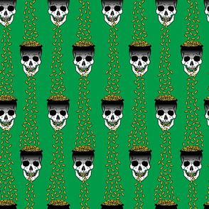 gold skulls green