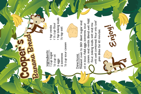Cooper's Banana Bread Recipe fabric by vintage_style on Spoonflower - custom fabric