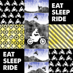 Eat Sleep Ride - Motocross Patchwork - Yellow/Royal B18BS
