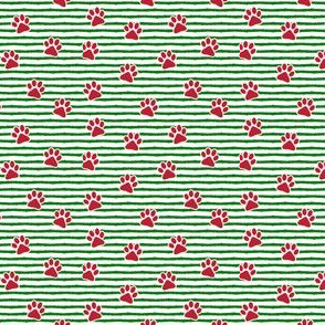 (micro scale) paw prints (red on green stripes) C18BS