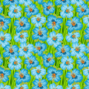 Tropical Blue Flowers on Green Grass