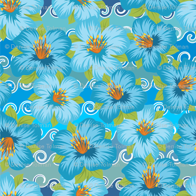 Tropical Flowers Blue on Waves