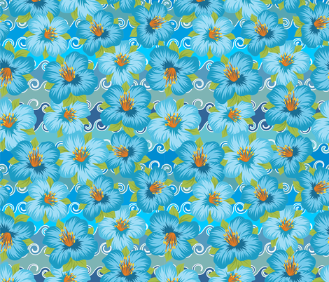 Tropical Flowers Blue on Waves fabric by fabric_is_my_name on Spoonflower - custom fabric